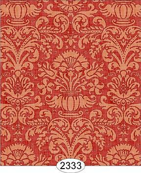Miniature Dollhouse 1:12 Scale Wallpaper Annabelle Damask Red With Cream - 2333