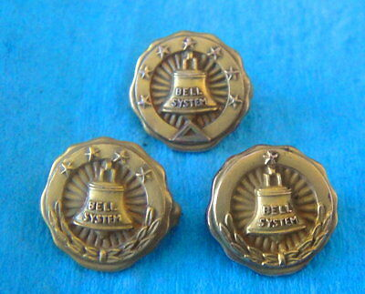 3 Vintage BELL SYSTEMS Figural Employee Service Award Pin Badges; Gold Filled