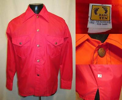 Vintage HANG TEN Gold & Side Label Red Long Sleeve Snap Button Shirt S M Surfer
