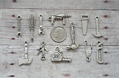 12pc or 5pc Handyman Tools Charm Set Lot Collection/Hammer,Screwdriver,Drill,Saw