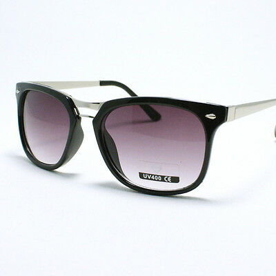 HORN RIMMED 80's Vintage Retro UNISEX Sunglasses BLACK and SILVER