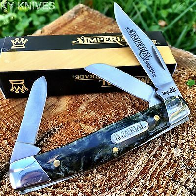 "Imperial Schrade Black Swirl 3 1/4"" Medium Stockman Pocket Knife New! IMP17S -t"