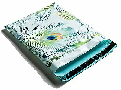 100 10x13 Blue & Green Peacock Designer Mailers Poly Shipping Envelopes Bags