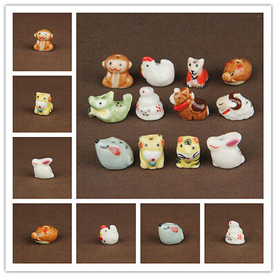 12PCS Chinese Zodiac Pattern Ceramic Porcelain Spacer Loose Beads Findings DIY