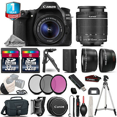 Canon EOS 80D DSLR Camera + 18-55mm IS - 3 Lens Kit + 1yr Warranty - 64GB Bundle