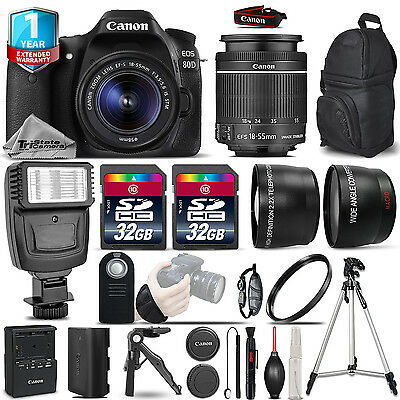 Canon EOS 80D DSLR Camera + 18-55mm IS - 3 Lens Kit + Flash + 64GB +1yr Warranty