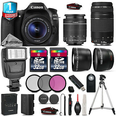 Canon EOS 80D DSLR Camera + 18-55mm IS + 75-300mm + 64GB + Flash + 1yr Warranty