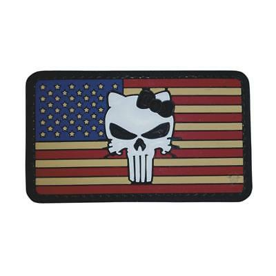 """5ive Star Gear American Flag Tactical Kitty Skull PVC Morale Patch, 2"""" x 3.25"""""""