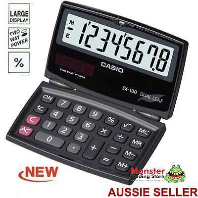 Casio Calculator Foldable Travel 8 Digit New Sx-100 Large Display Solar+Battery