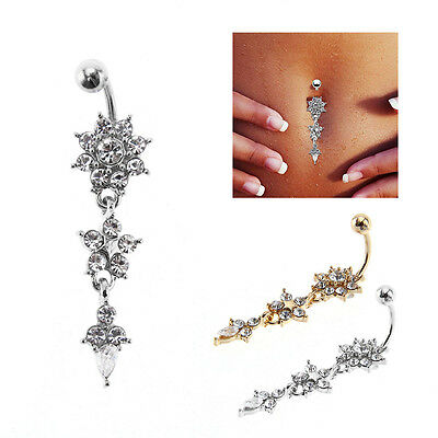 Jewellery Bars Drop Body Piercing Belly Button Ring Crystal Dangly Navel Bar