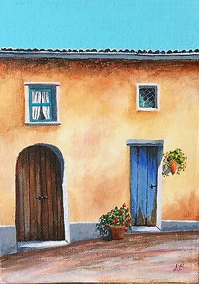 Original Acrylic Painting by JULIA Landscape French Street, Flowers