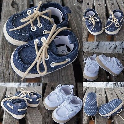 Baby Newborn Boys Girls Kids Soft Sole Casual Canvas Sneaker Toddler Shoes 0-18M