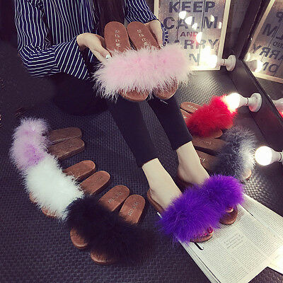Womens Feather Fluffy Flats Fur Slippers Mules Slip On Creepers Sandals Shoes