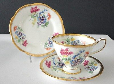 English vintage china teacup and saucer Flowers  Clare England White pink multi