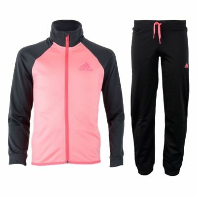 adidas Junior Girl's Entry Full Tracksuit Jacket & Cuffed Pants Pink & Grey