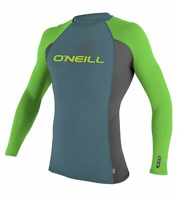 ONeill Youth Skins L/S Crew Kids Rashguard Longsleeve Blue-Graphite-Dayglow