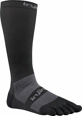 Injinji Ex-Celorator Compression2.0 Over-the-Calf Toe Socks Black-L(Torn Package