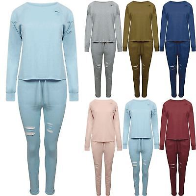 Girls Ripped Destroyed Trouser Jogging Jogger Round Neck Sweatshirt Tracksuit