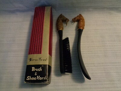 Vintage 1970's Shoe Horn & Brush With Plastic Horse Heads