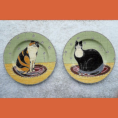 "2-Cat Plates-Warren-Kimble ART-CAT COLLECTION-8-1/2""-Dessert Plate-Sakura-Oneida"