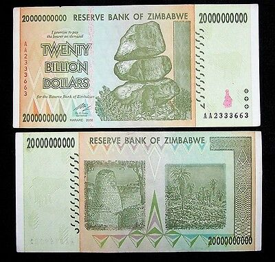 1 x Zimbabwe 20 Billion Dollar banknote -paper money currency