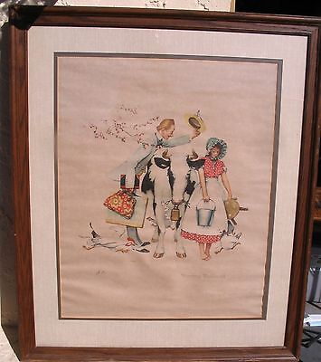 Old Norman Rockwell A/P Artist Proof Colored Lithograph Framed Print N/R 49.99