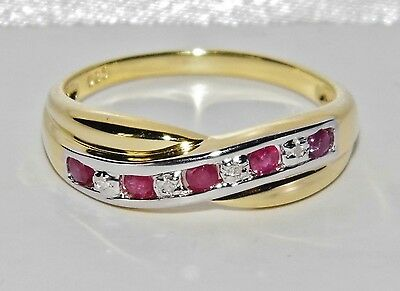 9ct Yellow Gold & Silver Ruby & Diamond Crossover Eternity Ring size R