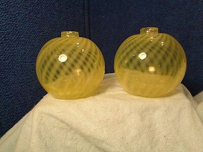 ~*~ESTATE FIND~*~  Antique Pair of  Yellow Swirled Glass Flask Bottles