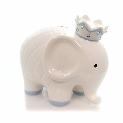 Bank WHITE/BLUE COCO ELEPHANT BANK Ceramic Baby Hand Painted 3781Bl