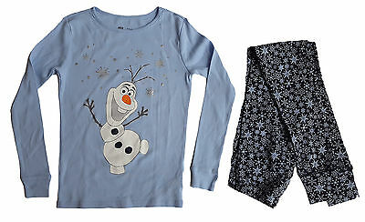 GAP Girls DISNEY FROZEN Pyjamas BLUE OLAF Sleepwear Top Pyjamas Set 10-13y £29
