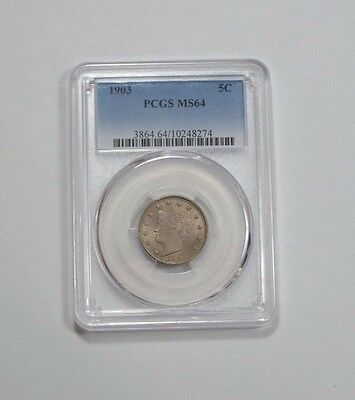"""1903 Liberty/""""V"""" Nickel CERTIFIED PCGS MS 64 5-Cents"""