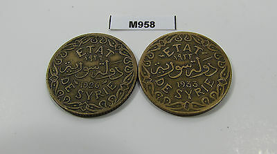 Syria 50 Piastres 1926 + 1933 Lot Of 2 Coins - M958