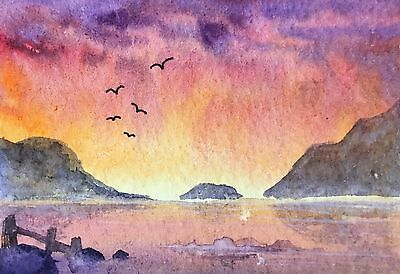 Original Art Small ACEO painting watercolour Sunset on the Lake by Pamela West
