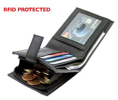 RFID BLOCKING Mens Real Leather Wallet Zip Coin Pocket Pouch ID Window 44 Black