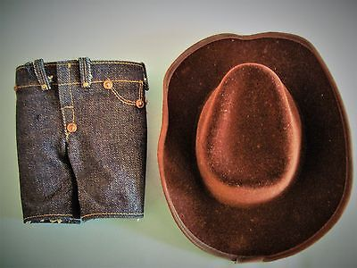 Vintage Original  Brown Cowboy Hat & Jeans For Buddy Lee Doll
