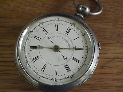 LARGE ANTIQUE SOLID STERLING SILVER CENTRE SWEEP CHRONOGRAPH POCKET WATCH c1882