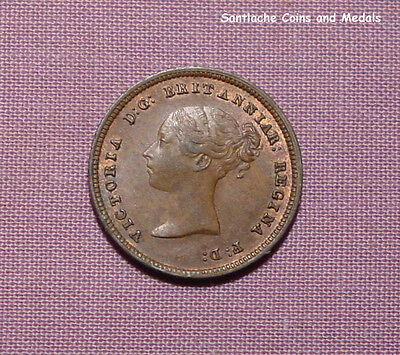 1844 QUEEN VICTORIA COPPER HALF FARTHING - Nice Grade with Lustre