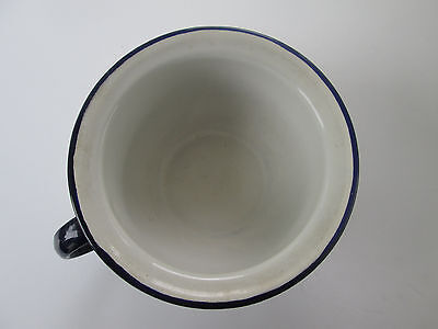 Antique Vtg Enamelware Porcelain White w Blue Rim Chamber Pot One Handle  912