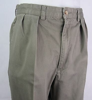 Vtg Pleated Tapered Preppy Khaki Ralph Lauren Polo Chino Trousers W31 DY09