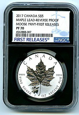 2017 $5 Canada 1Oz Silver Maple Leaf Ngc Pf70 Moose Privy Reverse Proof Top Pop9