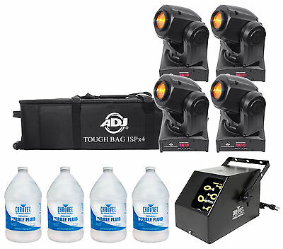 (4) American DJ ADJ Inno Pocket Spot LED DMX Lights+Bag + Bubble Machine + Fluid