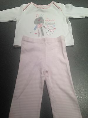 M&S Baby Girl Pink Bunny Outfit Set 6-9 Months