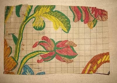 BEAUTIFUL 19th CENTURY HAND PAINTED ANTIQUE FRENCH FLORAL FABRIC DESIGN LYON