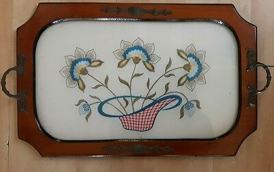 Vintage Wooden Tray Hand Embroidered Metal Handles And Decorative Decals