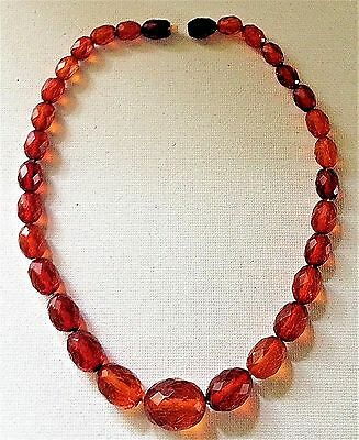 23. Estate Victorian Faceted Honey Amber Bead Necklace / Cherry Amber Clasp
