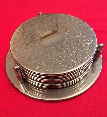 Vintage Set Of 6 Silver Plated Coasters With Stand