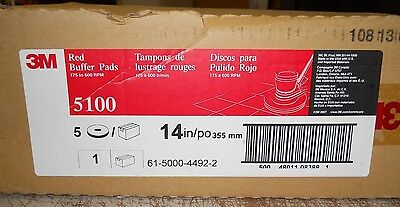 """Floor Buffing/buffer Pads, 14"""" Red 5100, Box Of 5, 175-600 Rpm's 3M Scotch-Brite"""