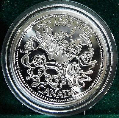 1999 Canadian Sterling Silver 25 cent Millennium coin July