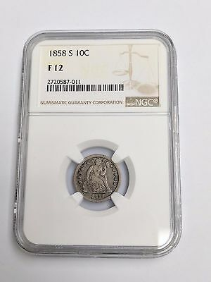 1858 S Seated Liberty Dime Coin NGC F 12 - 2720587-011 - KEY Date Low Mintage