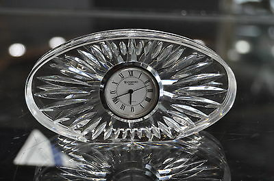 Vintage Waterford 24% Lead HEAVY Crystal Oval Quartz Clock Paperweight 4 3/4""